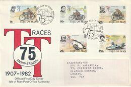 Rare Enveloppe Ile De Man 75th Anniversary TT Races - 1981-1990 Decimal Issues