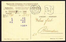 1924 Postkarte Der Telegraphen Und Telephon Verwaltung, Nachnahme. Aus St. Gallen Nach Brunnadern. Mit Stabstempel - Telegraph