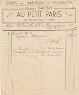 Dinant 1933 , Maison Dardenne / Au Petit Paris / Robes, Manteaux, Fourrures - Ambachten