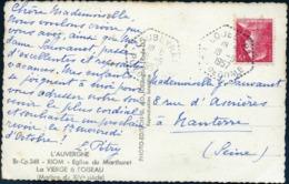 Loubeyrat Puy De Dôme Hexagone Pointillé Type F7 Agence Postale 1957 1011 Muller CP Riom Eglise Marthuret Vierge Oiseau - Cachets Manuels