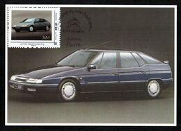FRANCE Carte Maximum Timbre Collector Voitures CITROËN XM 1989/2000 Oblitération Illustrée Chevrons CITROËN PARIS - Coches