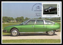 FRANCE Carte Maximum Timbre Collector Voitures CITROËN CX 1974/1991 Oblitération Illustrée Chevrons CITROËN PARIS - Coches