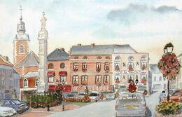 BAVAY Nord Place Du Général De Gaulle Aquarelle Jean DESSE FRANCE Watercolor Square - Andere Illustrators
