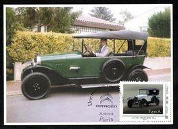 FRANCE Carte Maximum Timbre Collector Voitures CITROËN Type A 1919/1921 Oblitération Illustrée Chevrons CITROËN PARIS - Coches