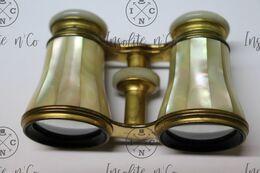 Antique Victorian French Opera Glasses Binoculars Original Leather Case - Jumelles Théâtre En Nacre Avec étui Cuir XIX - Altri