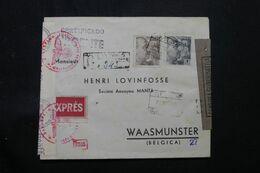 ESPAGNE.- Enveloppe Commerciale  En Recommandé De Barcelone Pour La Belgique En 1943 Avec Contrôles Postaux - L 68763 - 1931-50 Cartas