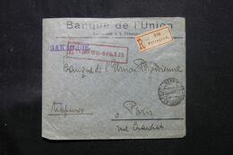 RUSSIE.- Enveloppe Commerciale En Recommandé De Pétrograd Pour Paris En 1915 , Affranchissement Au Verso - L 68765 - Storia Postale