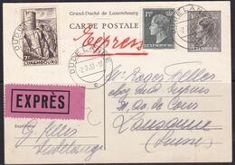 Luxembourg, 1951, Postcard, Sent Express To Switzerland - Covers & Documents