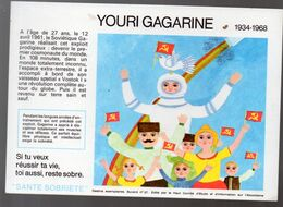 (aviation -espace) Buvard Du Comité Antialcoolique:n°27 : YOURI GAGARINE   (M0643) - Transport