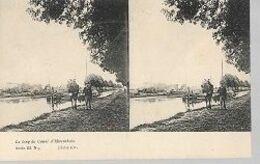 16 08/ I//   KANAAL HERENTALS/  KUDDE IN BOUWEL EN KANTWERKSTERS - Stereoscope Cards