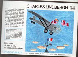 (aviation ) Buvard Du Comité Antialcoolique:n°25 : CHARLES LINDBERGH  (M0640) - Transport