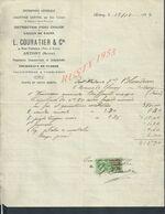 FACTURE SUR TIMBRE FISCAUX 1924 DE L COURATIER CHAUFFAGE À ANTONY - Francia