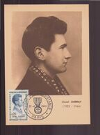 """France, Carte Avec Cachet Commémoratif """" Héros De La Résistance """" Lionel Dubray Du 22 Avril 1961 à Paris - Commemorative Postmarks"""