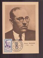 """France, Carte Avec Cachet Commémoratif """" Héros De La Résistance """" Jacques Renouvin Du 22 Avril 1961 à Paris - Commemorative Postmarks"""