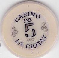 ANCIEN JETON  5 FRANCS / CASINO DE LA CIOTAT / JAUNE VIF NE RESSORT PAS AU SCAN - Casino