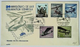 50° ANIVERSARIO DE LA AVIACION ESPANOLA - 1er DIA DE EMISION 1961 - Emissions Communes