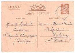 St CYR Les CHAMPAGNES Dordogne Carte Postale Entier IRIS Sans Valeur PV 90c Ob Agence Postale F4 - 1921-1960: Modern Period