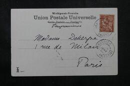 LEVANT FRANÇAIS - Affranchissement Type Mouchon De Jérusalem Sur Carte Postale En 1906 Pour Paris - L 68884 - Lettres & Documents