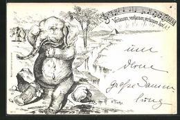 Künstler-AK Sign. O. Fuchs: Weinender Elefant Wegen Einsamkeit - Elephants