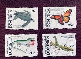DOMINIQUE 1988  4 V Neuf ** Tortue Reptile Insecte Mi 1184 1187 Insect Of Dominica - Stamps