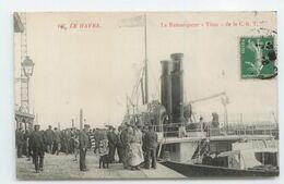 NAVIGATION SUPERBE CPA 1909 SEINE MARITIME LE HAVRE GROS PLAN ANIME BATEAU REMORQUEUR TITAN C.G.T TBE - Le Havre
