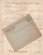 FRANCE LETTRE DE 1925 / AUTOMOBILES PEUGEOT PARIS / TIMBRE 5 Cts TYPE BLANC / N° 111 / TULLINS ISERE / PARIS - 1877-1920: Semi Modern Period