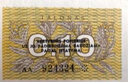 Lithuania 0.10 Talonas, P-29b (1991) - UNC - AA Serial Number - Lithuania