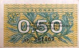 "Lithuania 0.50 Talonas, P-31x1 (1991) - UNC - Error Print ""Valstybinis"" - Lithuania"