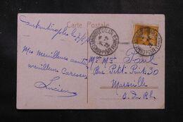 LEVANT FRANÇAIS - Affranchissement Semeuse De Constantinople Sur Carte Postale En 1922 Pour Marseille - L 68905 - Lettres & Documents