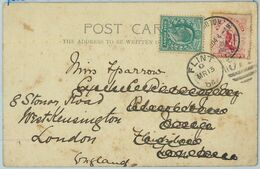 BK0361 - NEW ZEALAND - Postal History -  POSTCARD To ENGLAND, Redirected! 1904 - Briefe U. Dokumente