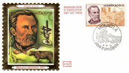 """"""" LOUIS PASTEUR """" Sur Enveloppe 1er Jour En Soie De MONACO De 1972 N° YT 913. Parfait état. FDC - Louis Pasteur"""