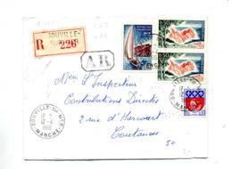 Lettre Recommandée Gouville Sur Mer Sur Aix Cote Azur - Poststempel (Briefe)