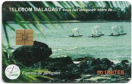 Madagascar - Telecom Malagasy - Convoy De Pirogues - 50Units, Chip Solaic, 250.000ex, Used - Madagascar