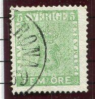 SWEDEN 1870 5 Öre. Green, Used.  Michel 7a - Oblitérés