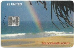 Madagascar - Telecom Malagasy - Rainbow Over The Sea - 25Units, Chip SC7, 900.000ex, Used - Madagascar