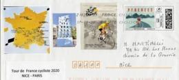 Lettre Du Tour De France Cycliste 2020 -  Nice - Paris  - Montimbrenligne, Vignettes, Oblitérée. - Sellado Mecánica (Otros)