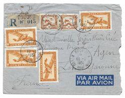 GOCONG GO CONG 1951 INDOCHINE POSTE AERIENNE + CPLT AU DOS TAMPON SERVICE POSTES VIET NAM POUR TRAN THIEN CUC AGEN BIARD - Poste Aérienne