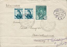 Austria Sonderstempel ST. GILGEN 1951 Cover Brief CHARLOTTENLUND (Arr.) Denmark READRESSED Mi. 957 Tag Der Briefmarke - 1945-60 Briefe U. Dokumente