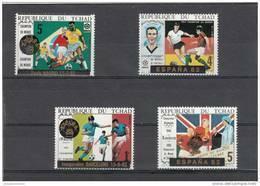 Tchad 4 Sellos Sobrecargados Futbol - 1982 – Espagne