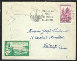 FRANCE 1958: LSC De Strasbourg  Pour La Suisse Affr. à  35Fr. Avec Le Y&T 1129, Vignette Et Obl. CAD Spécial - Storia Postale