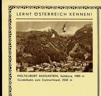 Carte Neuve Illustrée N° 395 - 90/2 : WELTKURORT BADGASTEIN , Salzburg, 1063 M (téléphérique) - Entiers Postaux