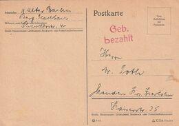 "All.Besetzung / Postkarte L2 ""Geb. Bezahlt"" Ex Berg. Gladbach (A059) - American,British And Russian Zone"
