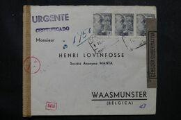 ESPAGNE - Enveloppe Commerciale En Recommandé De Barcelone Pour La Belgique En 1944 Avec Contrôles - L 68957 - Marques De Censures Nationalistes