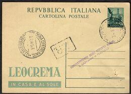 """1953 Italia, Cartolina Postale """"Leocrema"""" Usata Come Ricevuta Di Ritorno, Fori Di Spillo,timbri Arrivo - Ganzsachen"""
