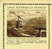 Carte Neuve Illustrée N° 395 - 90/4 : BEZAU Im Bregenzerwald, Vorarlberg, 650 M (téléphérique) - Entiers Postaux