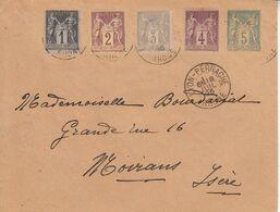 & France Sage Affranchissement Composé Multiple YT 83 + 85 + 87 +88 Sur Entier Enveloppe 5c SAG D04 Pour France - 1876-1898 Sage (Type II)