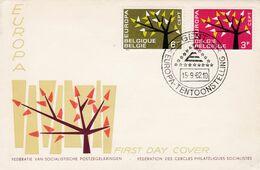 Enveloppe FDC 1222 1223 Europa Gent Tentoonstelling - FDC