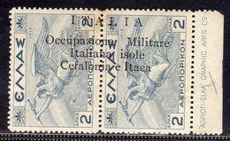 OCCUPAZIONE ITALIANA CEFALONIA E ITACA 1941 MITOLOGICA POSTA AEREA AIRM MAIL 2 D + 2 DRACME MNH FIRMATO SIGNED - Cefalonia & Itaca