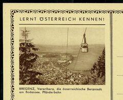 Carte Neuve Illustrée N° 395 - 90/6 : BREGENZ, -die österreichische Bergstadt Am Bodensee. Pfänderbahn - Entiers Postaux