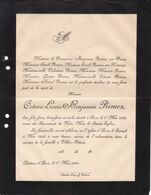Château D'ACOZ Octave-Louis PIRMEZ 1883 Villers-Potterie Familles DRION FORTAMPS - Todesanzeige
